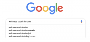 "what happens when you type ""wellness coach london"" into Google"
