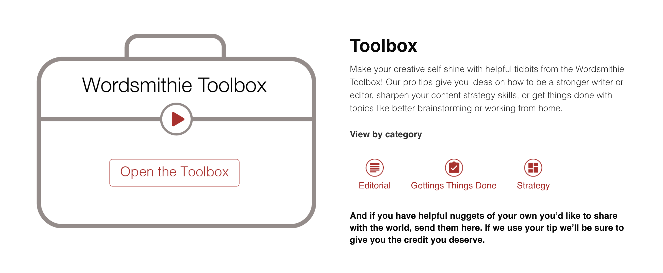 Introducing the Wordsmithie Toolbox: Learn and Share Helpful Creative, Strategic, and Organizational Tips